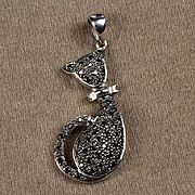 14K Cat Pendant with 47 Black Diamonds