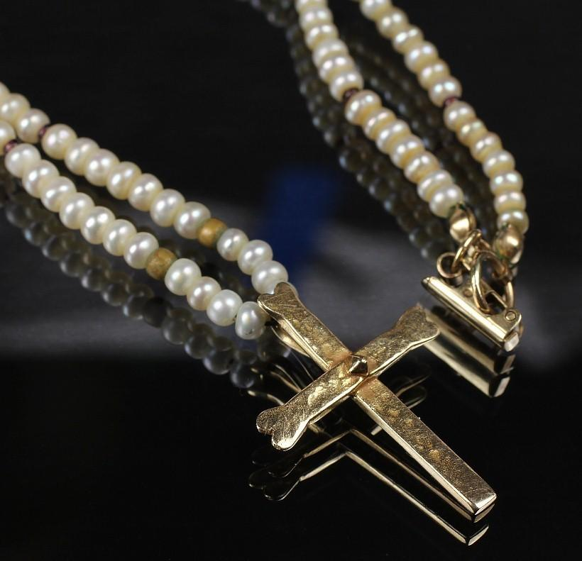 14K Mignon Faget Cross and Pearl Necklace