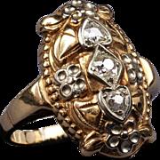 Antique 14K Two Tone Gold Euro Cut Diamond Filigree Ring