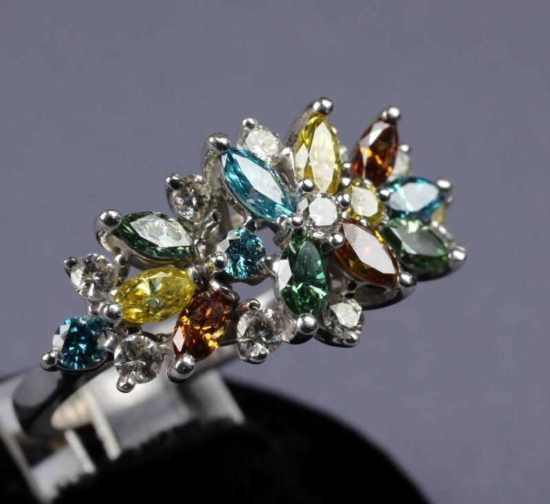 14K Multi Color Diamond 2 Ct. Ring
