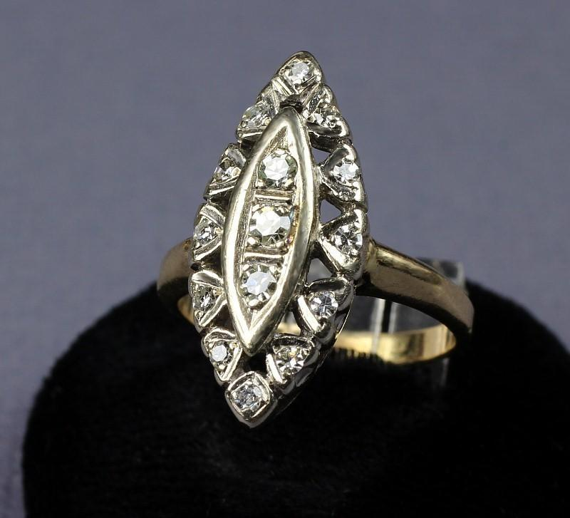 Antique14K White Gold with 15 Single Cut Diamonds