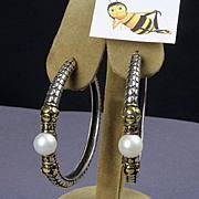 Sterling and 18K Gold John Hardy Pearl Hoop Earrings