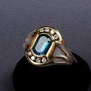 14K Yellow Gold Mother of Pearl, Diamond, and Blue Topaz Ring