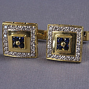 18K Yellow Gold Diamond & Sapphire Cuff Links