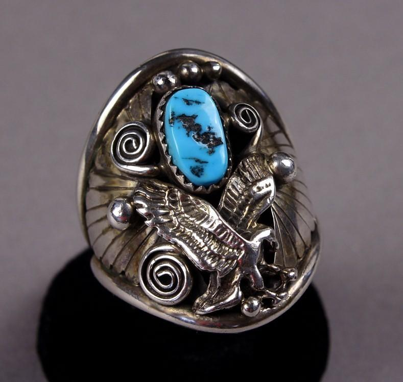 Large Sterling Native American Turquoise Ring with Eagle