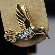 14K Humming Bird Earrings with Diamonds, Emeralds, Sapphires, & Rubies