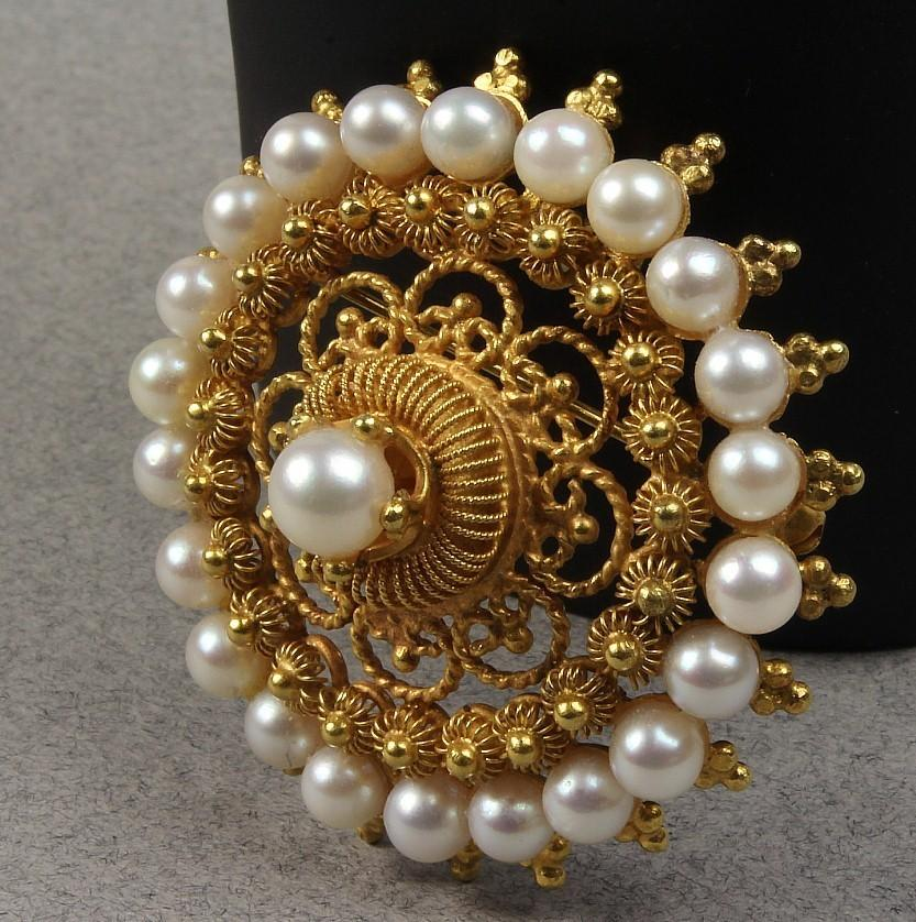 14K Gold Pearl Cluster Pin / Pendant