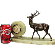 Marble Desk Clock with Stag