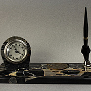 Steamship Line ..1929 .. Italian Portoro Marble Clock and Sheaffer Pen Desk Set