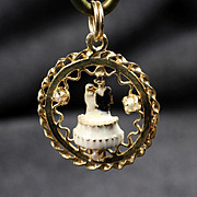 14K Bride & Groom Charm or Pendant with 3 Pearls