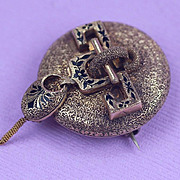 14K Enameled Victorian Hand Made  Pin / Brooch  Watch Holder