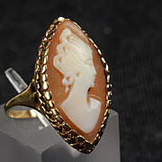 10K Yellow Gold Marquise Shape Cameo Ring
