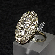 14K White Gold Oval Filigree Cocktail Ring with 0.60 Ct. of Diamonds