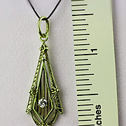14K Green Gold Lavalier Pendant with 2.9 mm Diamond