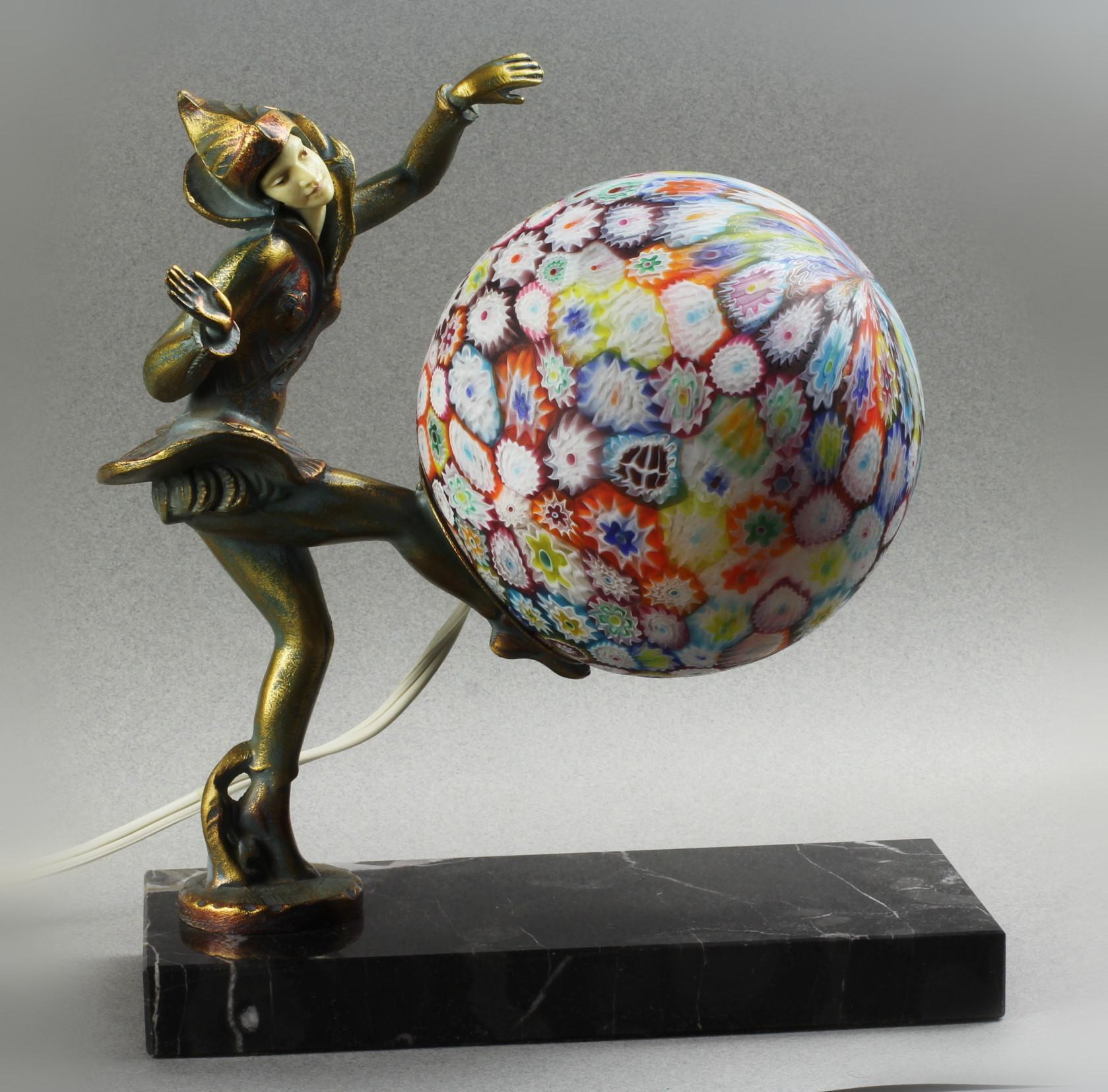 Art Deco Gerdago Harlequin Pixie Lamp with Millefiore Shade, Marble Base