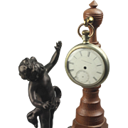 Ca; 1930's Patinated White Metal Putti Statue Antique Pocket Watch Holder