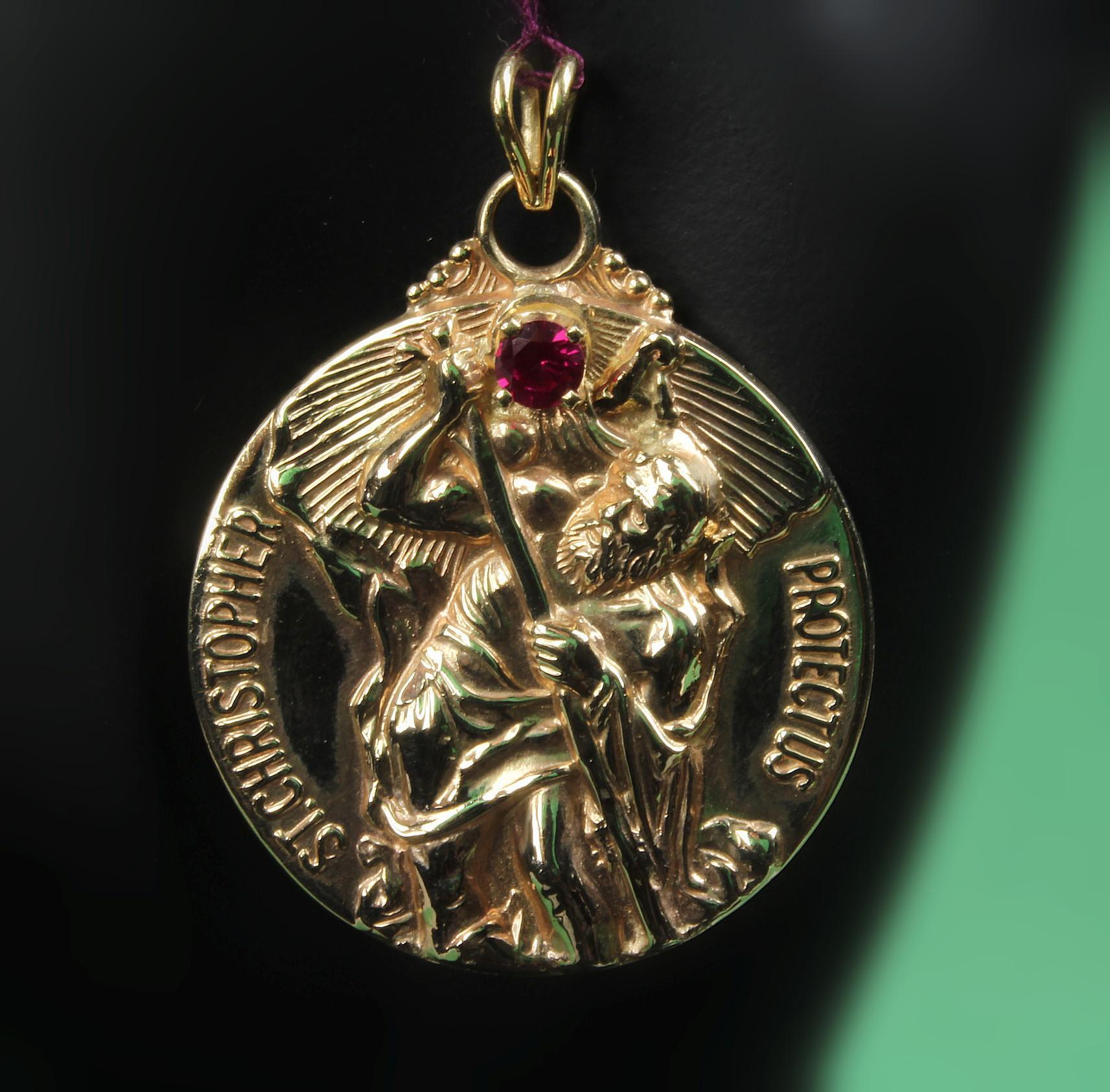 10k gold st christopher medal pendant with ruby ca 1960s sold 10k gold st christopher medal pendant with ruby ca 1960s sold ruby lane aloadofball Choice Image