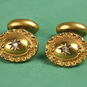 14K Vintage Cuff Links with Diamonds