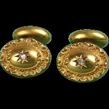 14K Vintage Cuff Links with Diamonds