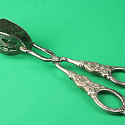T H Marthinsen Sterling Handle Serving Tongs from Norway