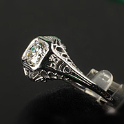 18k  White Gold Filigree Euro Cut Diamond Ring  Ca: 1930's