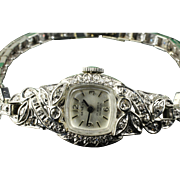 14K Ladies White Gold 1.0 Carat Diamond Wrist Watch & Diamond Band