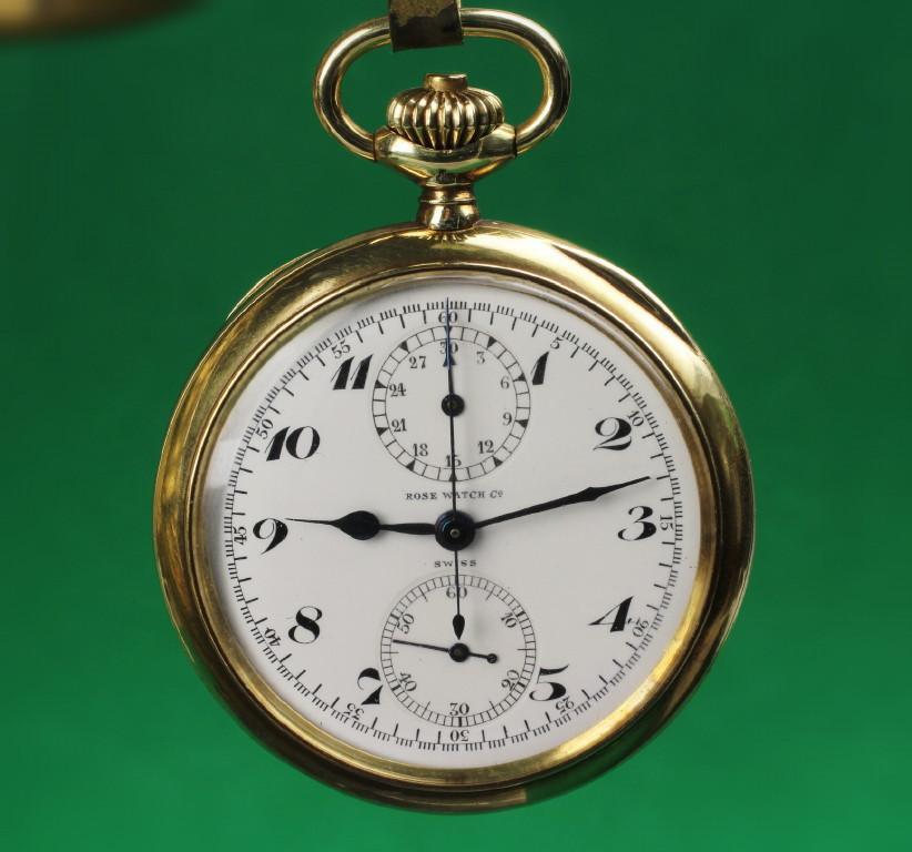 Rose / Heuer Watch Company 14K Gold Doctors Stop Pocket Watch