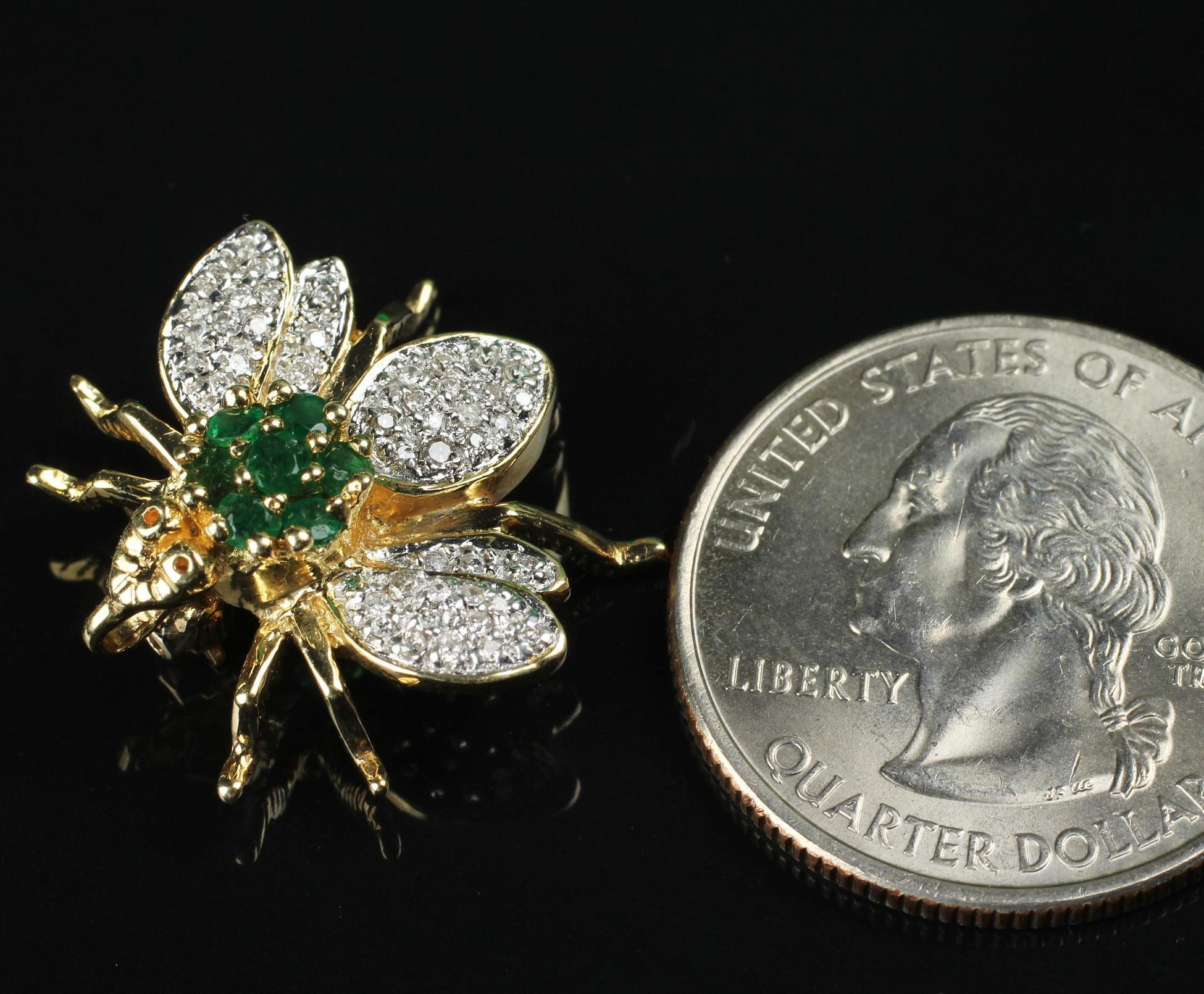 14K Bumble Bee Pin with Diamond & Emerald Pin / Pendant