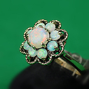 14K Opal Cluster Ring