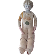 China Shoulder-Headed Doll, 1890-1910, Cork-stuffed Kid body, 16""