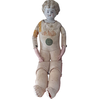 "China Shoulder-Headed Doll, 1890-1910, Cork-stuffed Kid body, 16"""