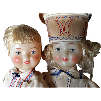 """Vintage Boy and Girl Celluloid Dolls, Russian, Regional Costume, 11"""" tall"""