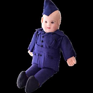"Vintage Felt Character Doll, Airman, 17.5"""