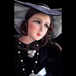 "BOUDOIR DOLL Silk faced, French, Art Deco Era 1920-30s, 28"" tall, Beautiful, Original"