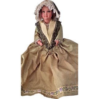 French Celluloid Doll, National Costume, Petitcollin, c1920s