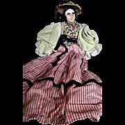 French Boudoir Doll Silk-faced Head, Cloth Torso, and Original Clothes