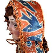 Vintage French Doll's Silk Velvet Bonnet, Traditional Style, Orange with Bluebird Pattern
