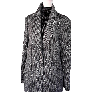 Vintage Escada Burnished Silver Sequinned Tailored Jacket, 46 (12-14)