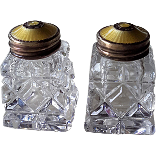 Vintage 1960s Norway Salt & Pepper Shakers, Crystal, Yellow Guilloche Enamel on Gilt Sterling Silver, Hroar Prydz