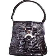 Rare Vintage Crocodile Bag, 1950s-60s, Black, Adjustable Handbag/Shoulderbag, Pristine