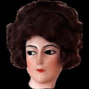 BOUDOIR DOLL HEAD, Wax on Composition, Art Deco Era c.1920s