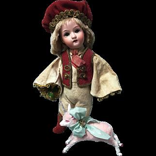 Fairytale PRINCE Mignonette Glass Sleep Eyes Doll + Antique Wool Putz Unicorn