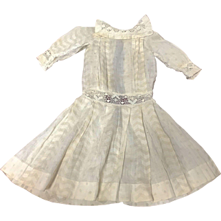 "Sweet Antique Cotton Print Doll Dress 13"""