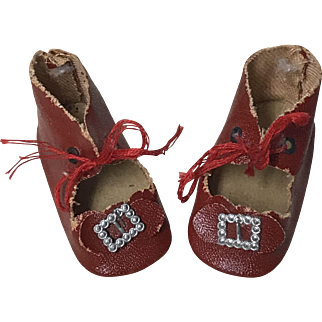 """Adorable Red Antique Doll Shoes w/ buckles 2-1/2"""""""