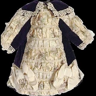 GORGEOUS Watered Silk PURPLE Velvet Authentic Antique Dress for Jumeau Bru Steiner Doll