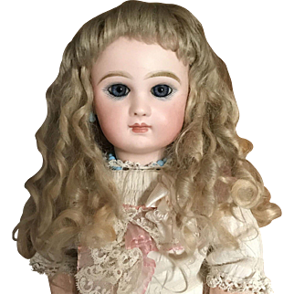 """Gorgeous Blonde Mohair Antique Wig for Large Doll 13"""" Circ."""