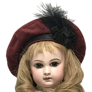 """Antique Red Wool Beret Doll Hat w/feathers 12"""" circ."""