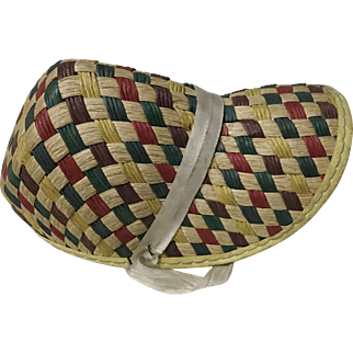 Colored Checkered Vintage Doll Straw Hat Bonnet