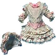 Beautiful Dress and Bonnet for Antique Doll
