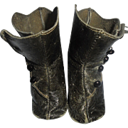 Leather Boots for Large Antique Doll